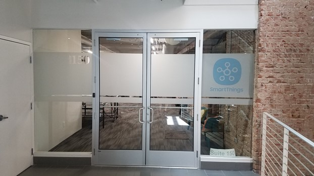 Frosted Privacy film with printed logo