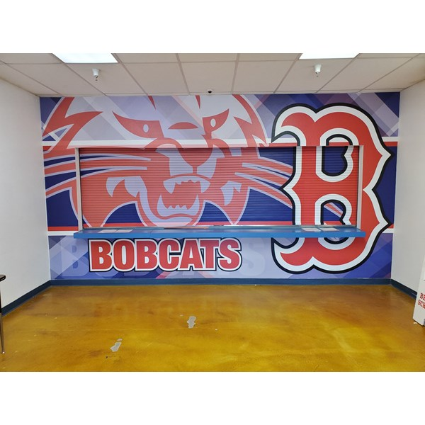 Wall Graphic covering front of concession area at Benson High School Gymnasium